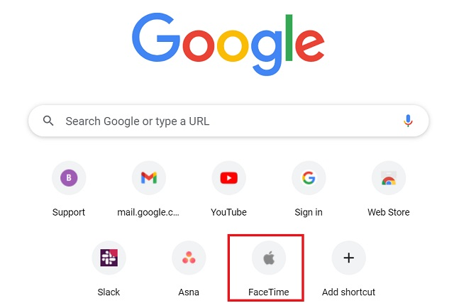 FaceTime-shortcut-on-Chrome-homepage