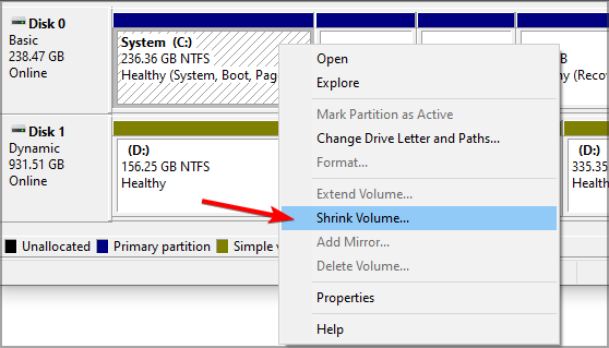 shrink-volume-menu